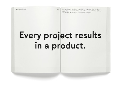 "A opened book with the quote ""Every project results in a product"""