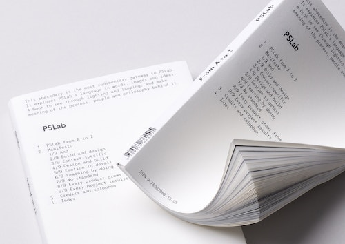 View of two booklets designed for Pslab on a white table