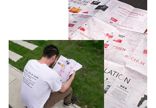 A photo collage with a man reading the branded map and a close-up of this map