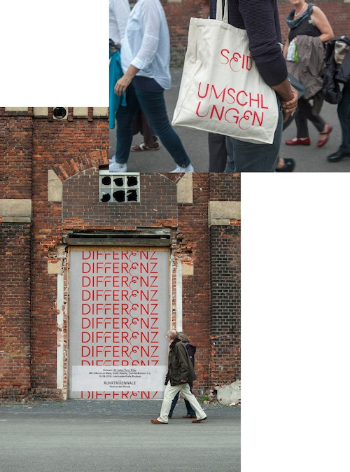 "A photo collage with a poster for Ruhrtriennale saying ""Different"" on a wall, and a woman holding a branded bag"