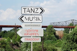 A set of road signs showing the direction to different activities for Ruhrtriennale