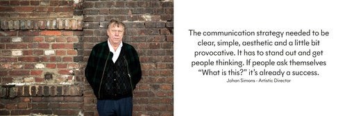 A photo and a quote from Artistic Director Johan Simons on the goal of the communication strategy of Ruhrtriennale