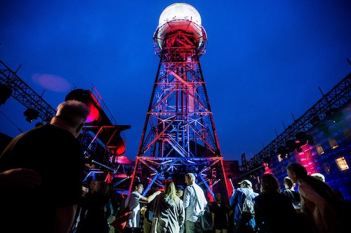 A Tower in the Ruhrtriennale festival at night