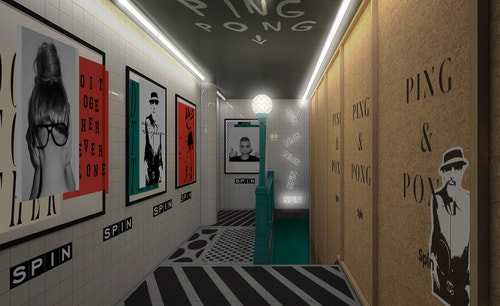 Hallway of Spin Club with different artworks