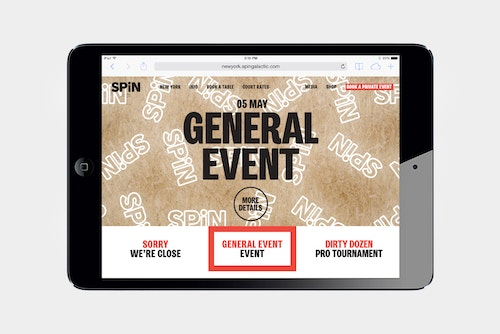 Homepage of the website developed for Spin displayed on a tablet