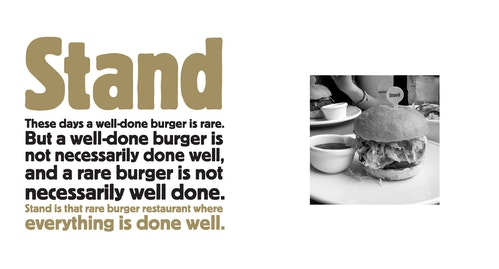 Copywriting for Stand on a well done burger with an image