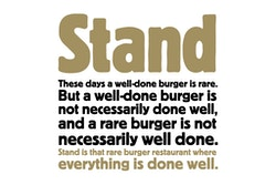 Copywriting for Stand on a well done burger
