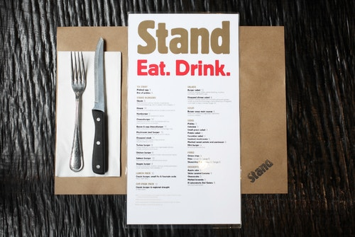 The new menu of Stand on a table
