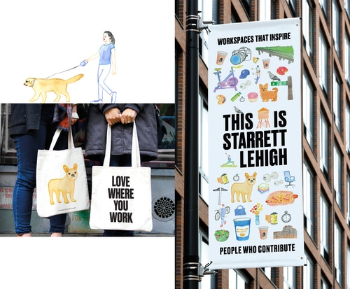 Photo collage of different application of the new visual identity of Starrett Lehigh on bags and a flag panel