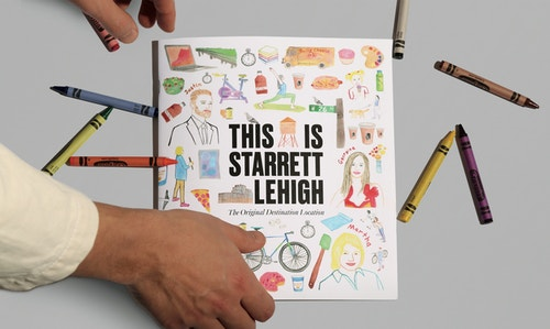 Leaflet designed for Starrett Lehigh branding on a table surrounded by colored pencils