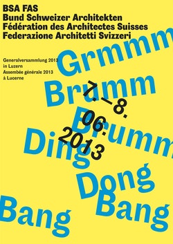 A funky green and yellow poster for the inauguration of Swiss Architects Federation