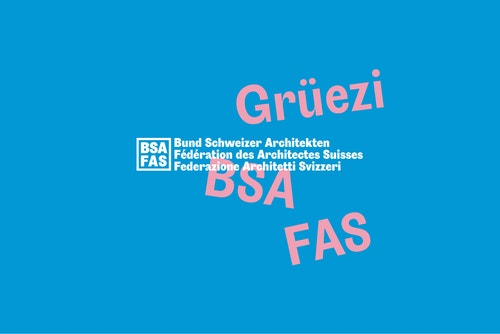A blue and pink poster for the Swiss Architects Federation