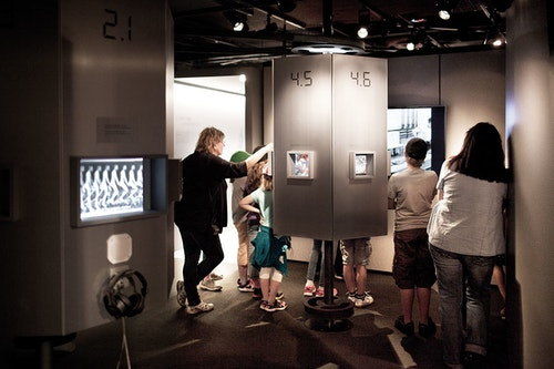 Inside the exhibition of The Olympic Museum