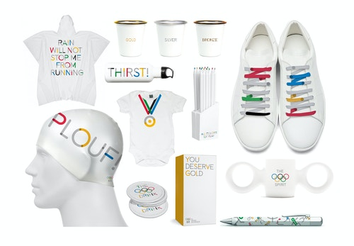 Different merchandising pieces for The Olympic Museum