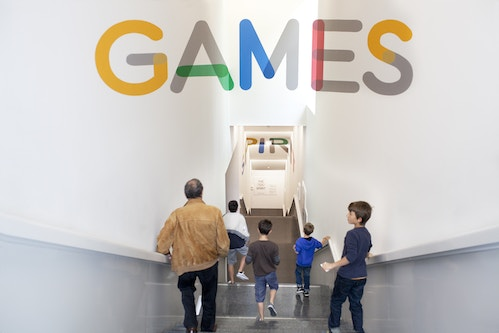 "Application of The Olympic Museum typography on the word ""games"""
