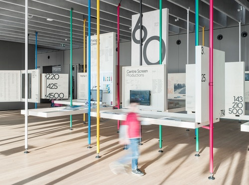Main room of The Olympic Museum exhibition
