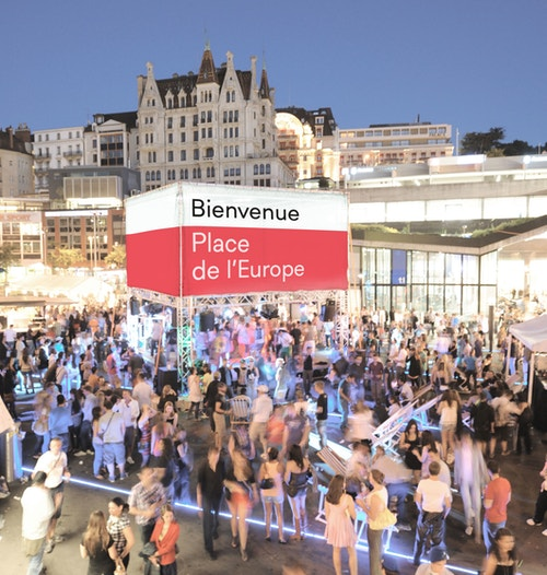 New brand identity of the City of Lausanne applied on a public event infrastructure