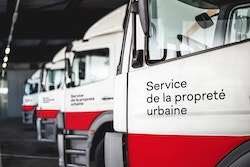 City trucks with City of Lausanne identity