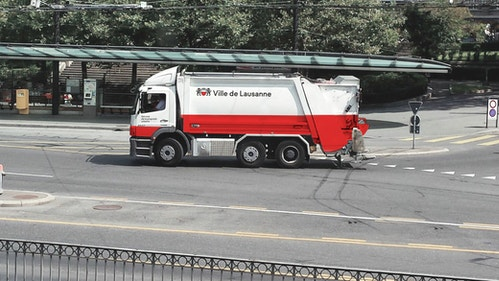 A city truck with City of Lausanne identity