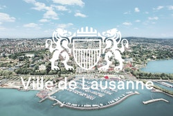 Logo designed for the City of Lausanne with a landscape background