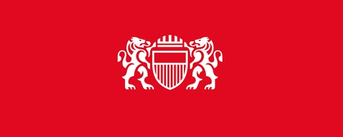The logotype of the City of Lausanne on a red background