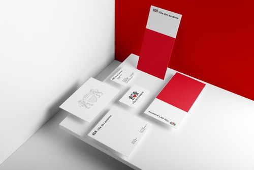 A set of printed materials designed for the new identity of the City of Lausanne