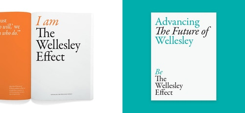 Patchwork of different works done for Wellesley College with an opened branded booklet and a poster