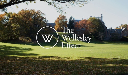 "A banner quoting ""The Wellesley Effect"" next to the logo on a background photo"