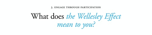 A copywriting for Wellesley College with a quote on engaging through participation