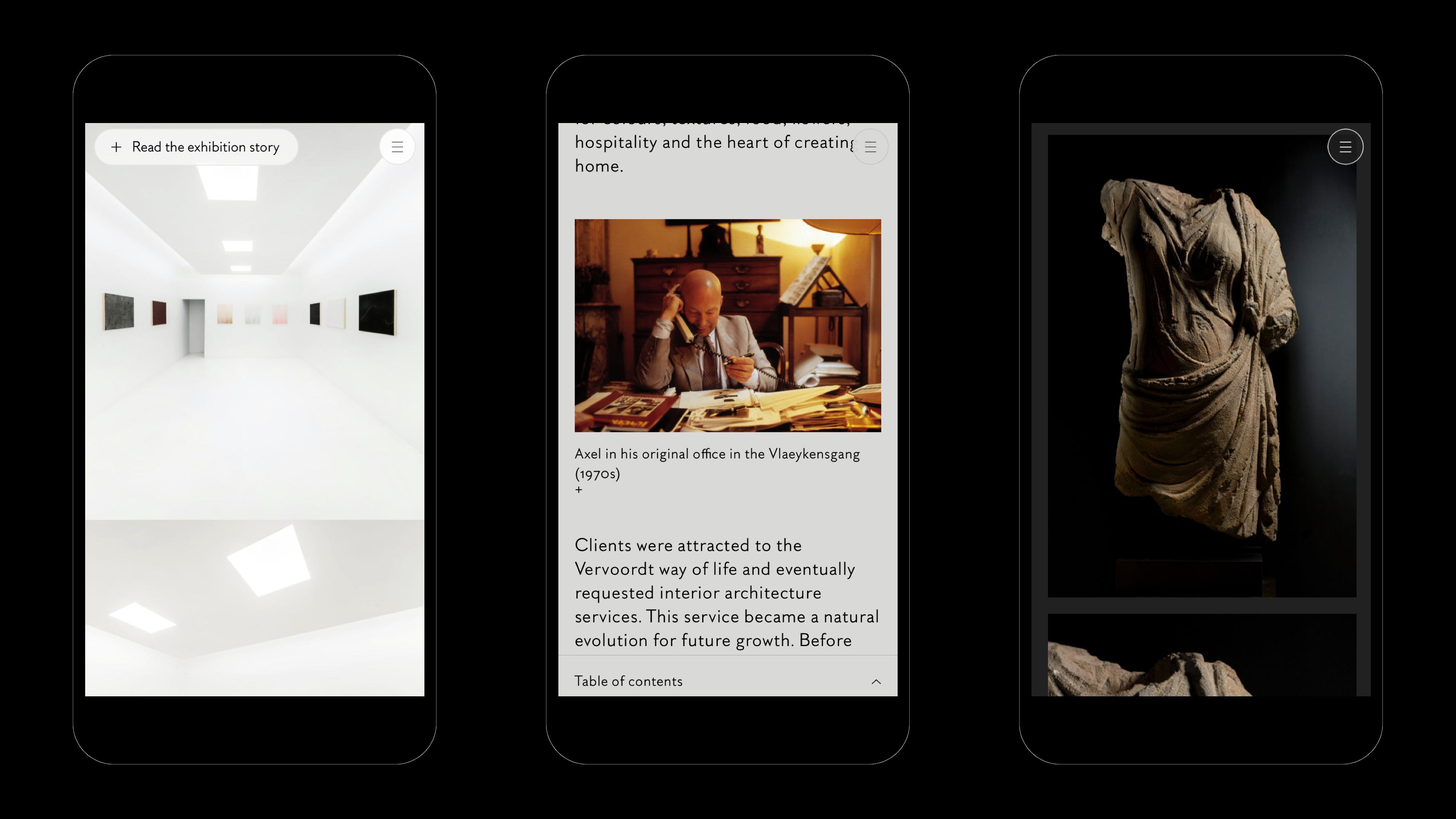 Mobile screenshots of the axel vervoordt website