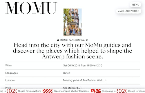 Screenshot of an activity organised by MoMu