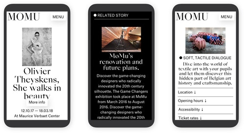 Mobile screenshots showing the design of MoMu's new website